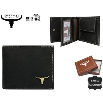 Portfel Męski Skórzany RM-01-BAW Black N
