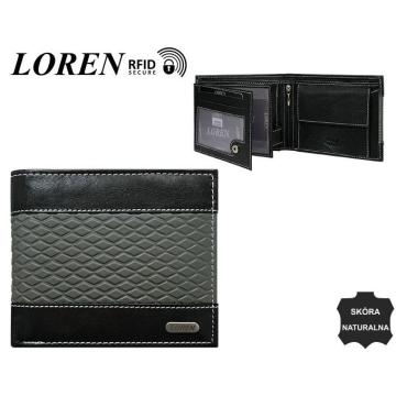 Portfel Męski Skórzany N992-DDG Black+Grey