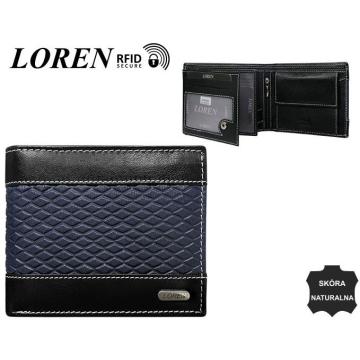 Portfel Męski Skórzany N992-DDG Black+Blue
