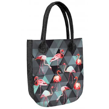Torba filcowa CITY ANTRACYT Flamingi