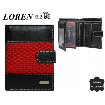 Portfel Męski Skórzany N4L-DDG Black+Red