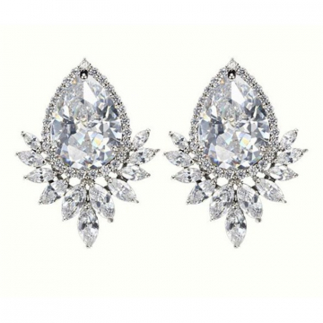 Wedding earrings hanging with crystals, stainless steel KSL68