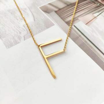 Naszyjnik stal chirurgiczna literka F platerowana złotem NST995F