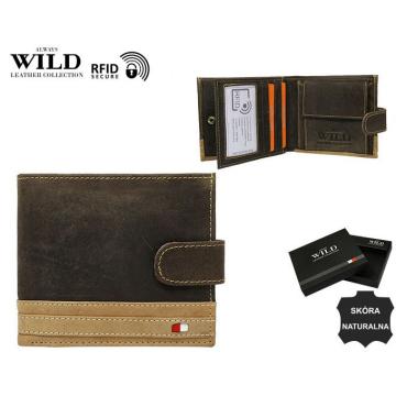 Portfel Męski Skórzany N01L-R-RFID Brown+Tan