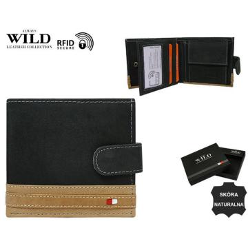 Portfel Męski Skórzany N01L-R-RFID Black+Tan