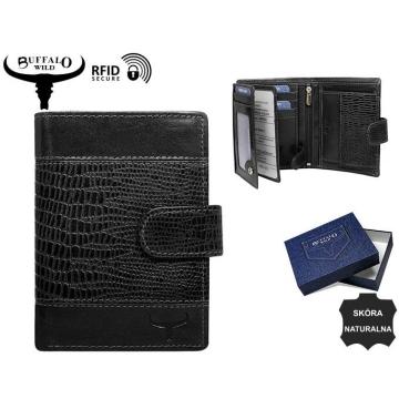 Portfel Męski Skórzany N4L-VTC Black-RFID