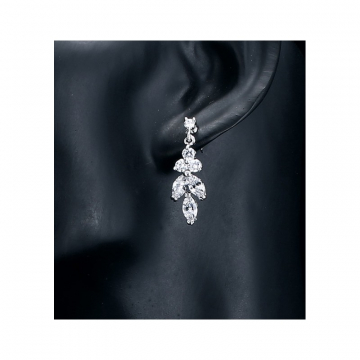 Wedding earrings hanging with crystals, stainless steel KSL66