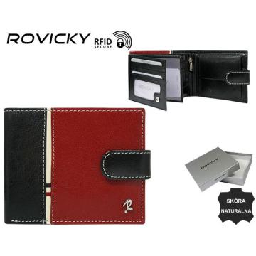 Portel Męski Skórzany 324L-RBA-D Black+Red