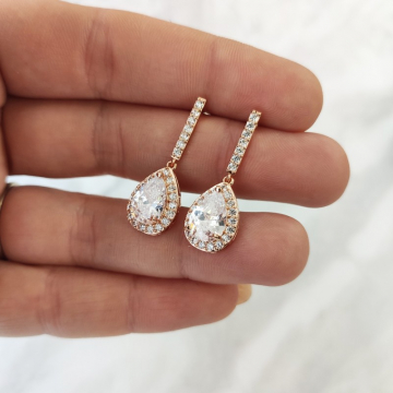 Wedding earrings hanging with crystals, stainless steel KSL77RZ