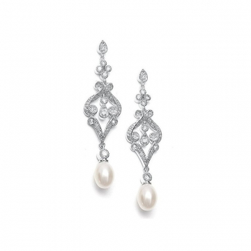 Wedding earrings hanging with crystals, stainless steel KSL82S
