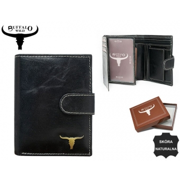 Portfel Męski Skórzany RM-06L-BAW Black