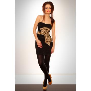 Marszczona sukienka z motywem panterki - czarny