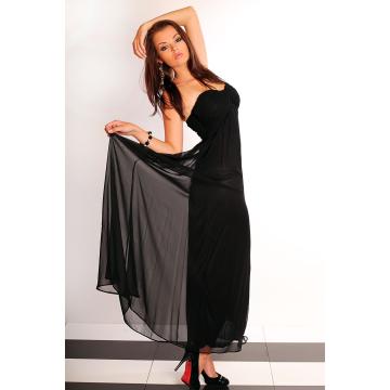 Długa tiulowa suknia bez ramiączek - czarny