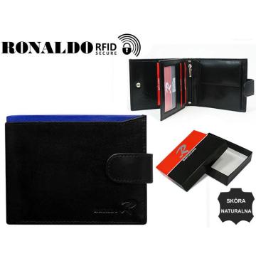 Portfel Męski Skórzany N01L-VT-RFID Black+Blue