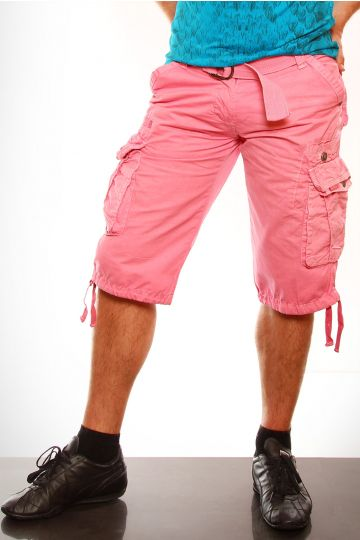 Męskie krótkie spodenki + pasek - różowy