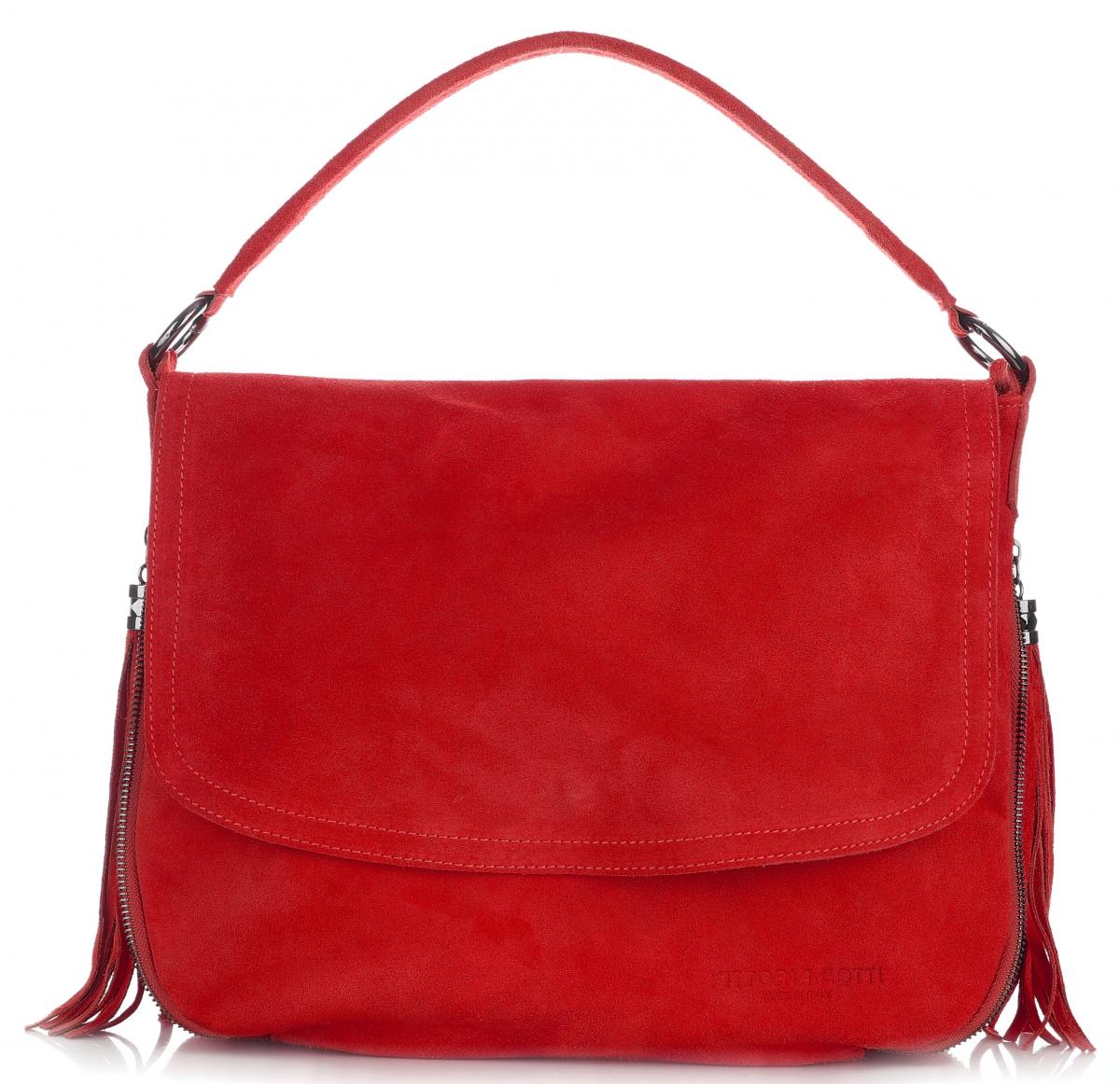 71699de1bf36c Listonoszka Skórzana VITTORIA GOTTI Made in Italy V5022 Czerwona ...