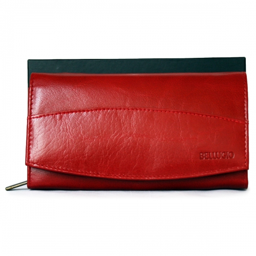 c1144537c29b2 Czerwony portfel damski ze skóry poziomy Bellugio